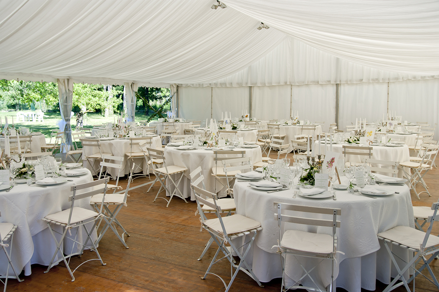 Inner lining makes a party tent look romantic