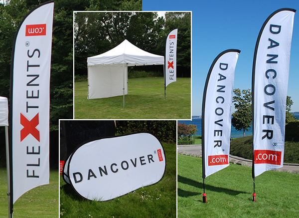 Beach flags and pop up banners with print