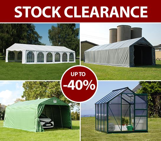 Stock clearance with marquees and more