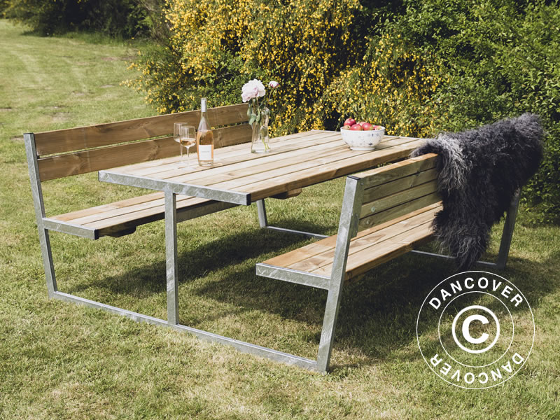 Picnic tables in solid wood