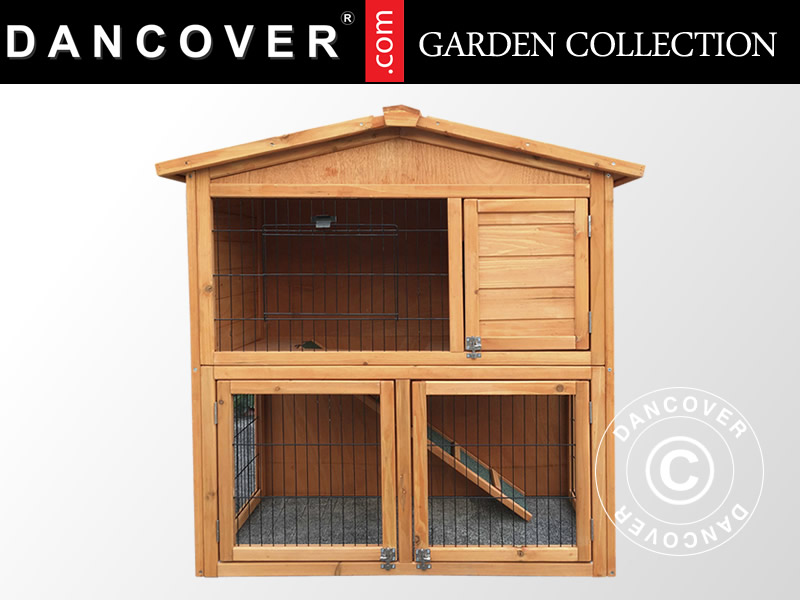 Wooden rabbit hutch in cedar