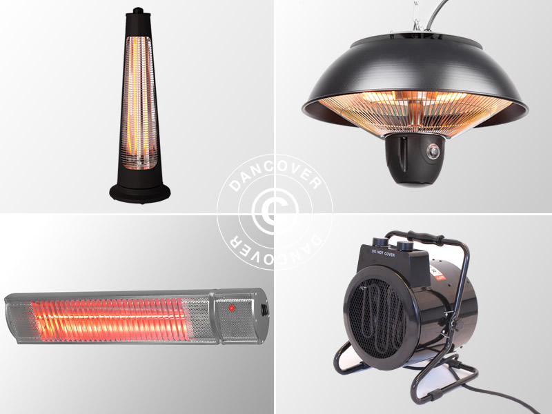 Patio heaters for outside and inside a marquee