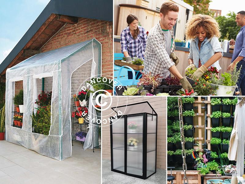 Urban gardening in raised garden beds and greenhouses