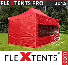 Racing tent FleXtents PRO 3x4.5 m Red, incl. 4 sidewalls
