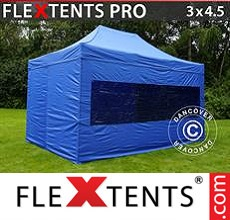 Racing tent FleXtents PRO 3x4.5 m Blue, incl. 4 sidewalls
